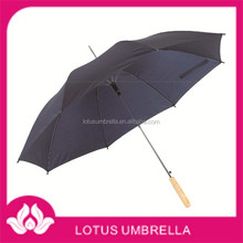 23''x8K round ribs, metal shaft, straight wooden handle, automatic open 190T polyester rain umbrella