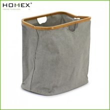 Grey Fabric Foldable Laundry Tote/Bamboo Laundry Bag/Homex_BSCI