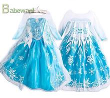 spring and autumn long sleeve wedding dress, frozen dress, girls' dress