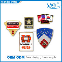 Wonder Crafts hot sale high quality hard enamel metal pure gold plating souvenir different country flag badge with safety pin