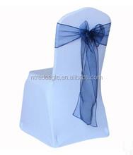 cheap spandex chair cover with navy blue self-tie organza chair sash