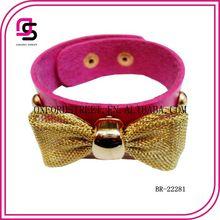 Diseño 2014 pulsera rosada en cuero sintetico con moño
