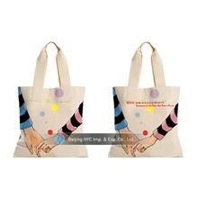 China factory OEM production nature cotton white custom printed canvas tote bags
