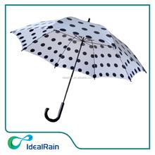 Auto black & white dot cheap walking stick rain umbrella