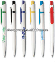 factory price white plastic logo pen for school and office use