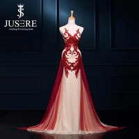 Unique Red And Champagne Color Lace Appliqued Mermaid Prom Dresses Sweep Train Arabic Dubai Abaya Kaftan Style Prom Dress 2015