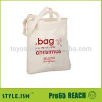 High quality Christmas handle cotton 5 oz canvas tote bag