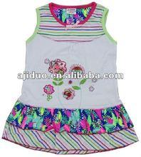 Cute stripe child dress/silk flower girl dress/baby girl birthday dresses
