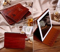 Classic Vintage Book Laptop Case for iPad Air 2 for iPad 5 6 Korean style Tablet Case PU Leather Tri-fold Stand Flip Cover