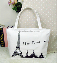 Classic series I love paris Eiffel Tower foldable canvas tote shopping bags for sale