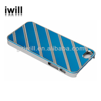 most popular diagonal stripes aluminum flake pc case for iphone5 5s