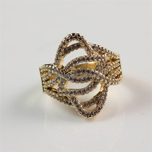 Latest Beautiful CZ Mirco Pave Setting Simple Gold Ring Designs