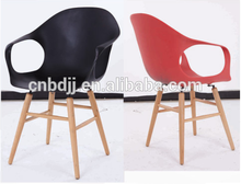 High quality Mordern design Cheap plastic chair with beech wood legs wooden dining chair
