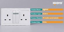 OEM double pole universal oem and odm wifi smart remote controller wall socket.led 13A British Standard double switched socket