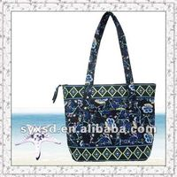 New style high quality quilted 100% cotton folding shopping bag