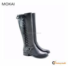 MK25-14 Black women lace up long boots hotsale leather boot shoes