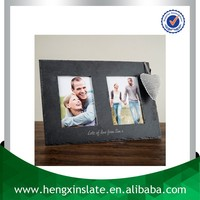 Factory Direct Price 37*26cm Handmade Decorative Customized Laser Design Natural Slate Double Photo Frame Gift