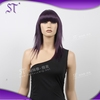 long purple synthetic hair wigs with neat bang for sale