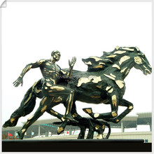 "Life Size ""Human and Nature"" Bronze Sculpture"