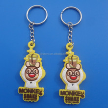 PROMOTIONAL 2D SOFT PVC MONKEY DRINKING KIDS' HANGING CHARM KEYCHAIN