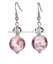 Faceted crystal accents Pink balls with accents of white and gold glass ball earrings