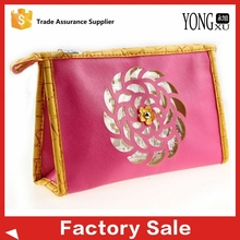 die cut flower logo PU leather travel cosmetic bag, durable leather travel toiletry case, high quality leather travel toiletry