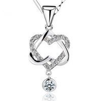 Wholesale 100% 925 Sterling Silver Double Heart Necklaces & Pendants Gemstone Jewelry Girl Friend Gift FREE SHIPPING