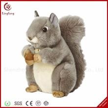 Simulation plush gray squirrel with a pine nut lovely stuffed cartoon squirrel dolls soft cartoon animal toy