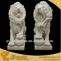 outdoor decoration white marble sitting lions statue with ball