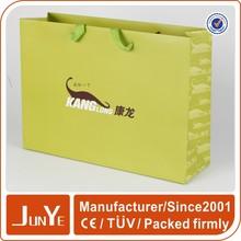 Luxury custom matt promotion green paper shopping bags wholesale