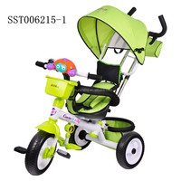 Cartoon newest style baby tricycle with tent . best gift for kids