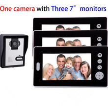 Triple 7 inch monitors 2.4GHz digital wireless video door phone with 500 meters transmission distance in open area
