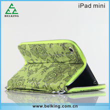 Retro Embroidery Wallet stand PU Bag for ipad mini with Card Holder