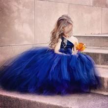 Ropa de bebé navy blue flower girl vestido para niña de 9 años de edad