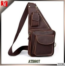 Casual 100% Genuine Oil Wax Leather Cowhide Men Sports Outdoor Belt Waist Bag Pack Packs Chest Bag Bags For Man