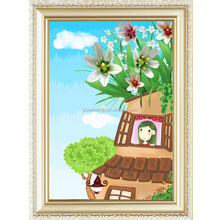 Cartoon design canvas oil painting by numbers kits for kids