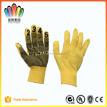 FT SAFETTY 7G Yellow Cotton/Polyester Knitted Safety glove, Working Glove with PVC Figure,Good Grip