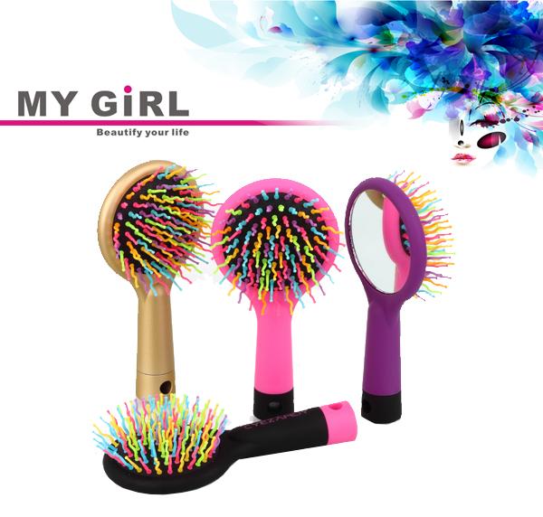 내 여자 휴대용 거울 레인보우 헤어 수염 가위 수염 빗 남성 제조 업체 중국