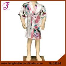 2301 crianças pavão Robe de seda Floral menina Kimono para crianças