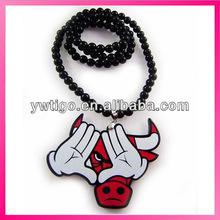 Wholesale bead chain bull head necklace