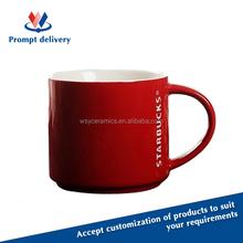 custom logo printing red color espresso coffee cup ceramic with FDA, LFGB, CA65,84/500/EEC approved