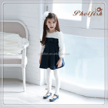phelfish autumn new models 15008 Korean soil pearl cuff stitching brand children's clothing girls dress
