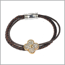 NWT Brown Braided Faux Leather Bracelet - Gold Tone Crystal Four Leaf Clover