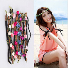 500Pcs/Lot Bohemia Flower Elastic Headband Bridesmaid Garland Beach Hairband Assorted Colors Free Shipping by Express