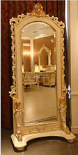 BISINI French Rococo Bedroom Furniture Full-length Mirror/ Classic Palace Wood Carved Decorative Dressing Mirror