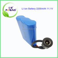 18650 Li battery pack 3s1p for electrical vehicles rechargeable lithium ion 11.1v 2200mah battery pack