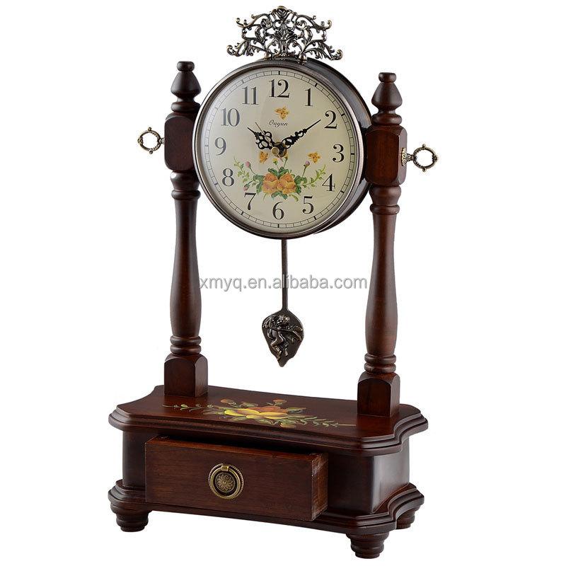 홈 인테리어 장식 골동품 나무 선물 시계 디자인 데스크톱 시계 ...