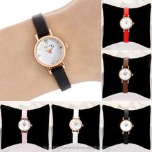 Rhinestone Rose Gold Alloy Case Ultra-thin Faux Leather Band Women's Wrist Watch