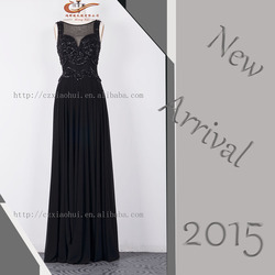 2015 Dignified sleeveless black dainty handmade beaded long chiffon evening dresses formal dresses