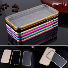 Luxury Dual Color Metal Bumper Frame Transparent Clear PC Phone Back Case Cover for iphone 6 plus